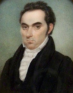 1825 portrait of a stern man with a slightly receding hairline, wearing a dark coat and high-necked white shirt.