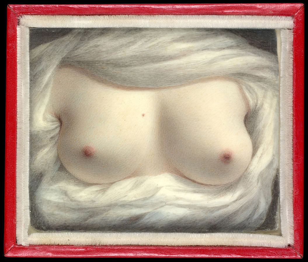 Miniature ivory self-portrait painting of a woman's exposed breasts surround by pale cloth