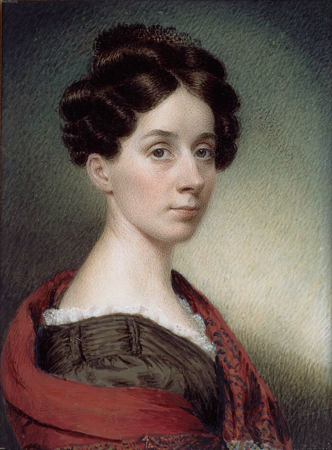 1830 self portrait of a posed looking female artist with a red shawl