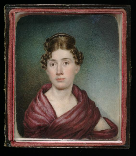 Self portrait of female artist Sarah Goodridge with ornate hairstyle and burgundy shawl