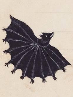 Medieval illustration of a black bat with many hands