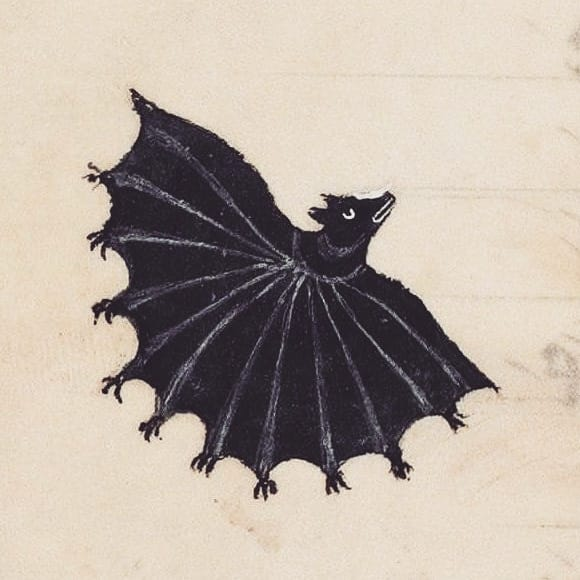 Medieval illustration of a black bat with many hands