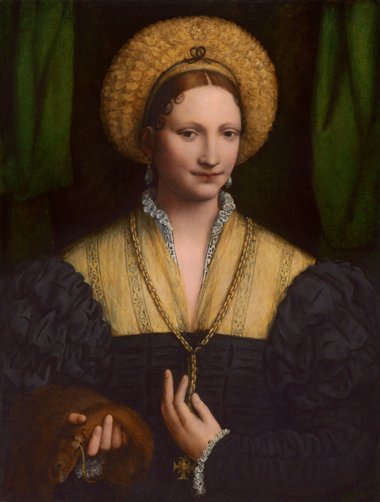 Portrait of a Reniassance noblewoman holding a weasel with particularly vicious-looking teeth