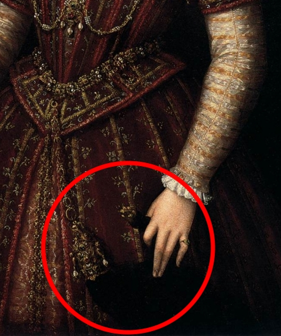 Painting detail of a jewelled weasel pelt being held by a Renaissance era bride in a red wedding gown