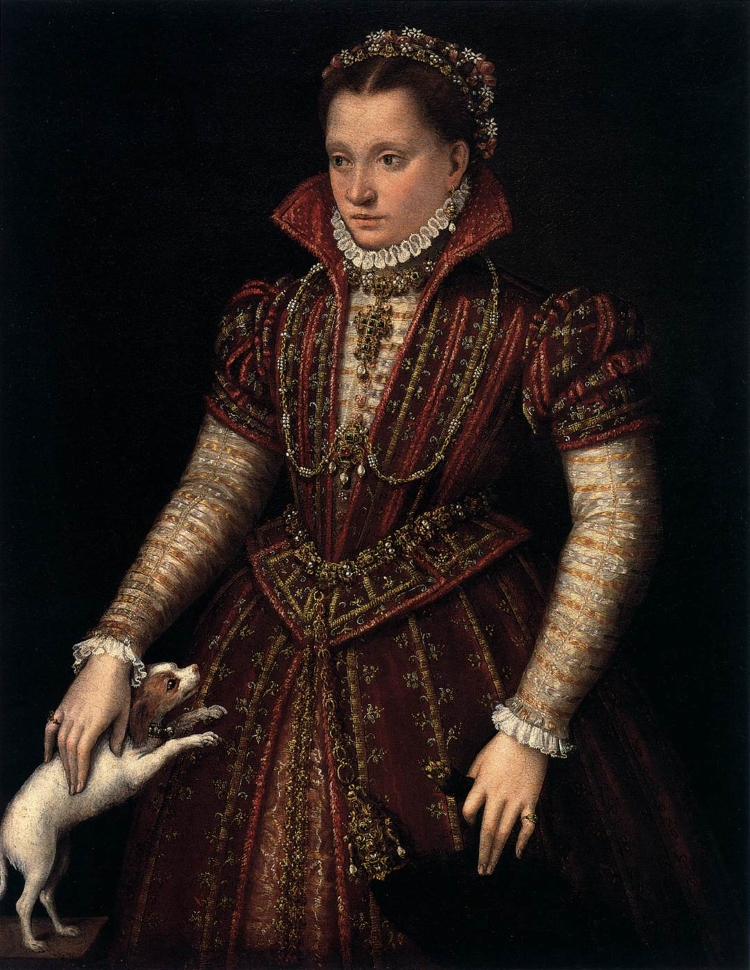 Portrait of a young woman in ornate red dress, holding a small white dog and a flea-fur or jeweled weasel pelt