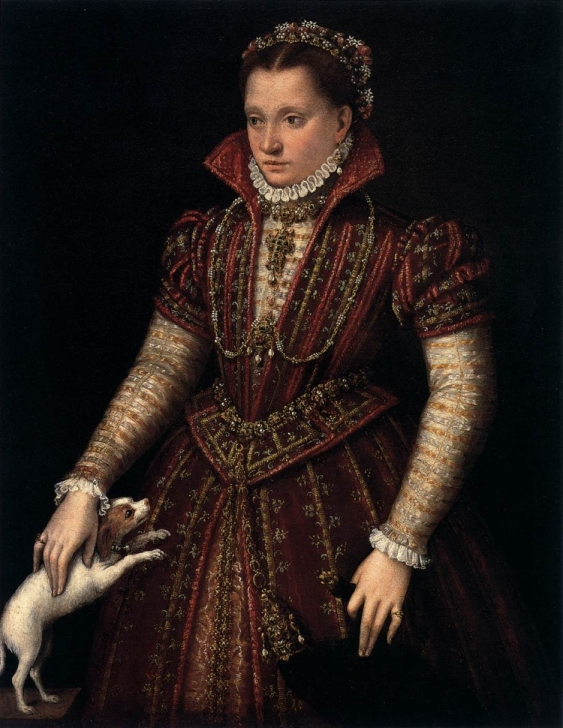 Hexbyte  News  Computers Portrait of a young woman in ornate red dress, holding a small white dog and a flea-fur or jeweled weasel pelt