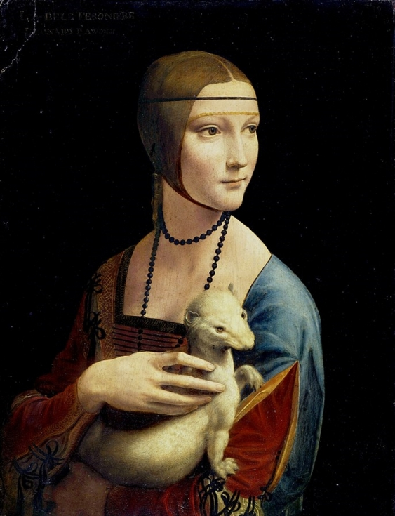 Renaissance era portrait of a noblewoman in blue and red dress holding a white ermine in her arms
