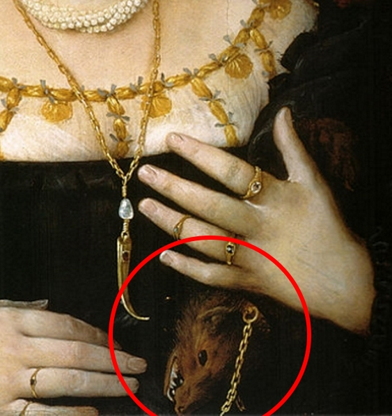Painting detail showing the sharp teeth of the weasel pelt held by a noblewoman