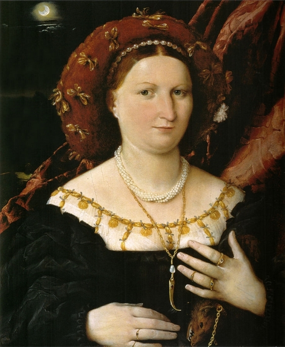 Portrait of an ornately dressed Renaissance noblewoman touching her stomach and holding a mink pelt