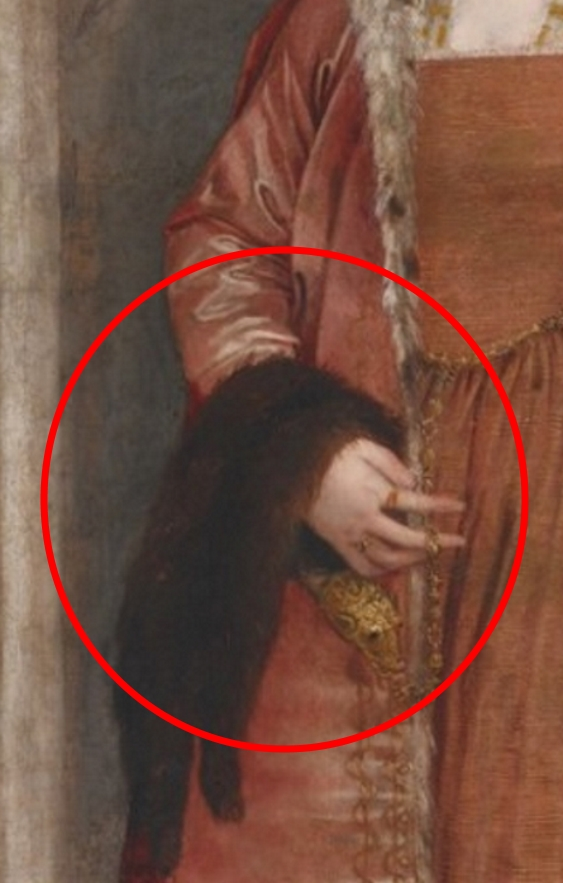 Painting detail of a jeweled marten or weasel pelt over the arm of a pregnant noblewoman