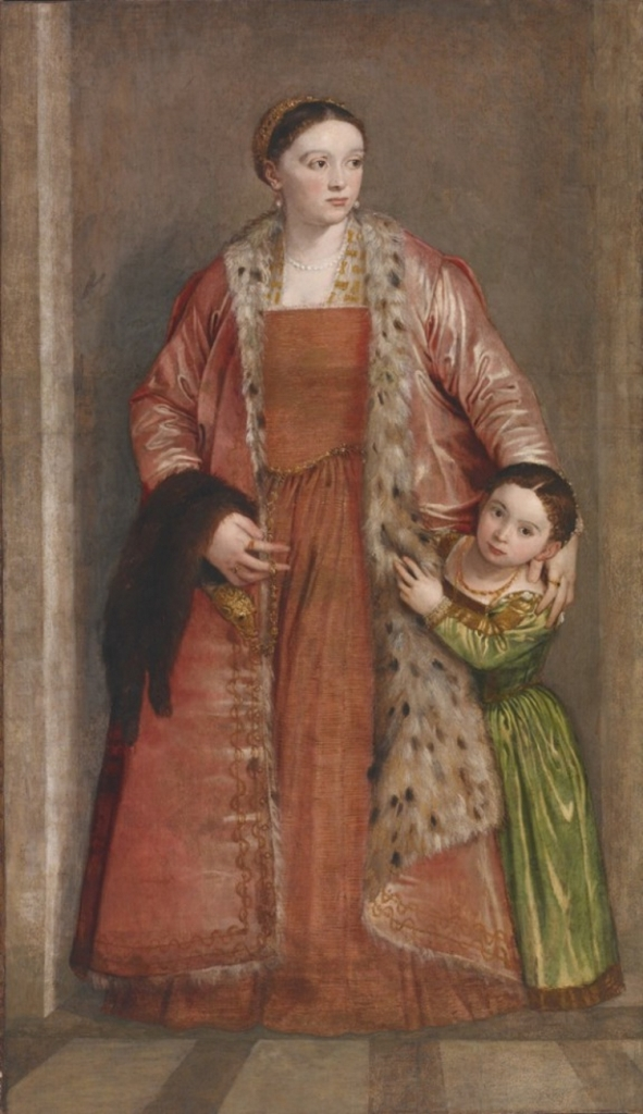 Portrait of a woman wearing a red dress and a jeweled pelt of a sable or marten, with her young daughter peeking out from behind her skirt.