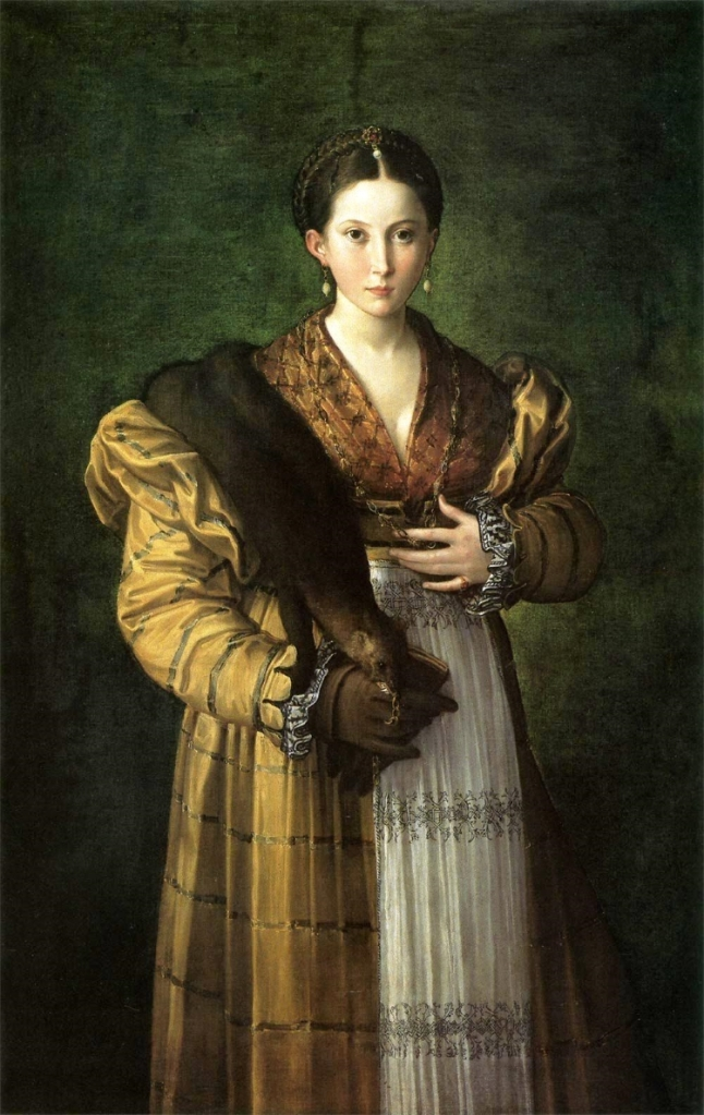 Renaissance portrait of a young woman in yellow gown with her hand to her womb, holding a weasel pelt or flea-fur