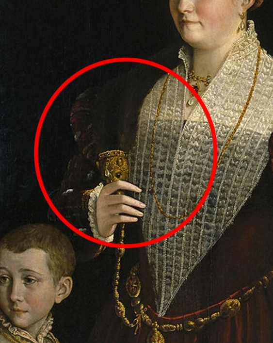 Painting detail showing a noblewoman with her hand gently fingering the jeweled head of a weasel pelt