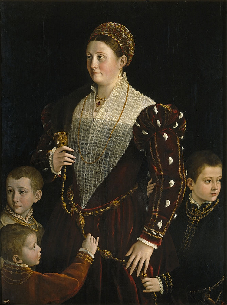 Renaissance era portrait of a noblewoman with a mink pelt over her shoulder, surrounded by her three young sons