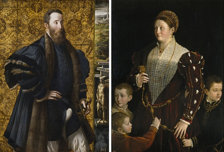 Side by side Renaissance portraits of a husband and wife