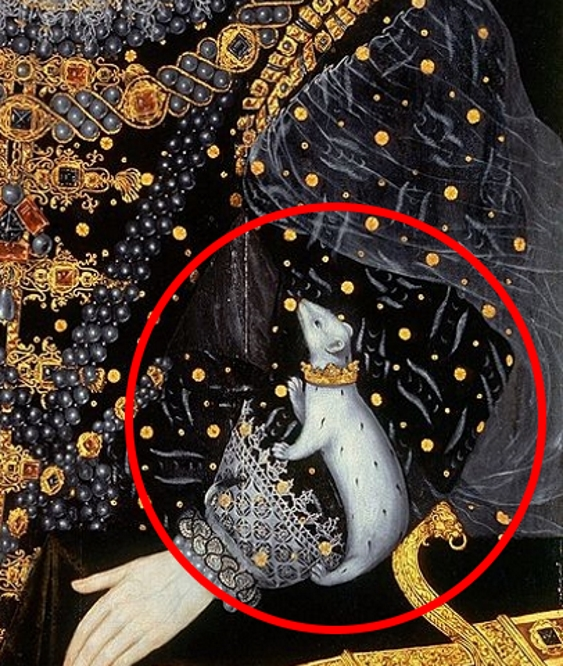 Painting detail of a white ermine on the sleeve of Queen Elizabeth I