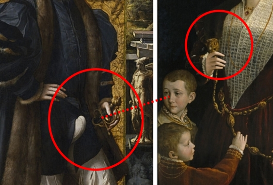 Painting detail showing the husband's prominent codpiece and sword handle, in relation to the son's gaze and his wife's hand on her weasel pelt