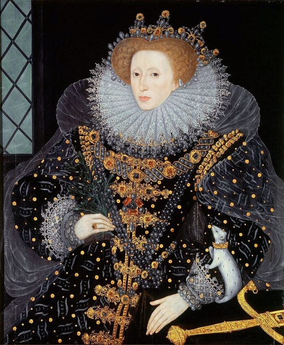 Portrait of Queen Elizabeth I in ornate black dress with a white ermine on her arm