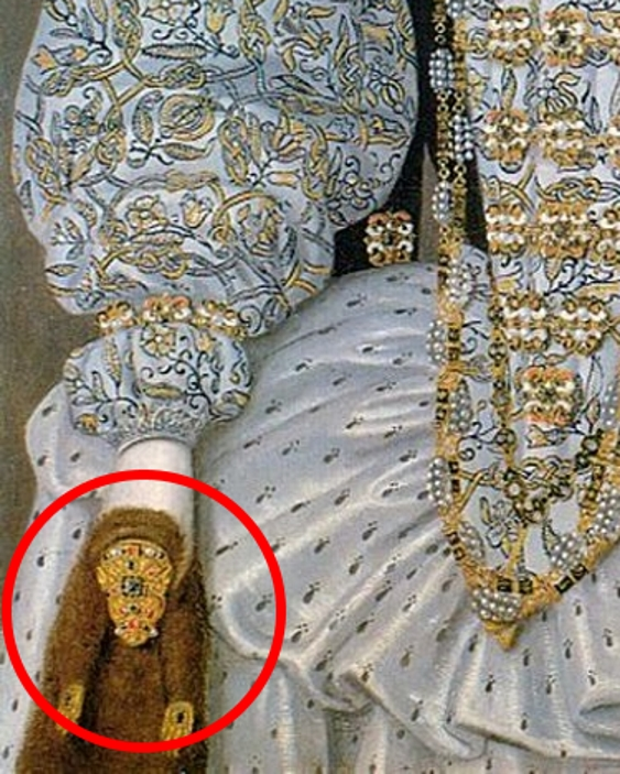 Painting detail showing the jeweled weasel pelt in the hand of an unknown noblewoman