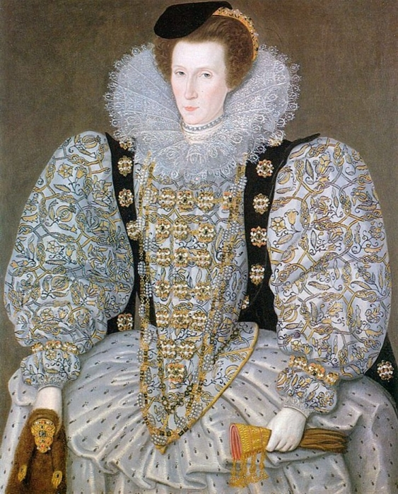 Portrait of an unknown Renaissance noblewoman wearing an ornate white embroidered dress, and holding a jeweled weasel pelt