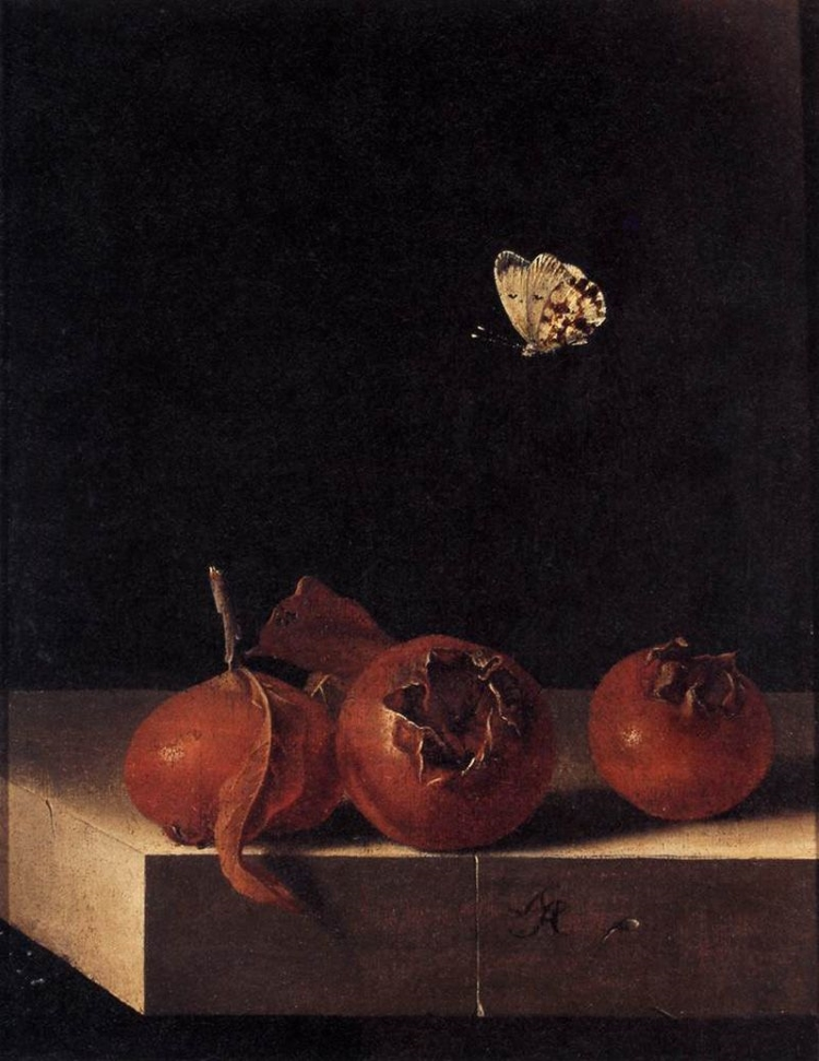 Oil painting of three medlar fruits on a table against a black background with a yellow butterfly flying over