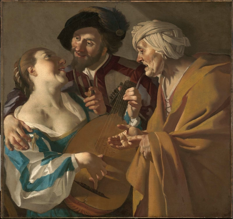 Painting of a beautiful young prostitute playing a stringed instrument to a young man holding a coin. On the right, an ugly older woman haggles with him over the price.