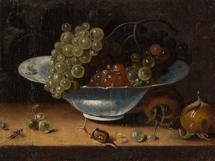 Painting of a grapes in a decorative bowl, with two medlar fruits sitting beside. A snail in the foreground crawls toward the grapes.