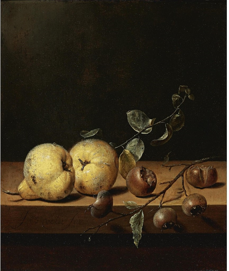 Oil paintings of two pears and five medlar fruits on a table ledge against a dark background