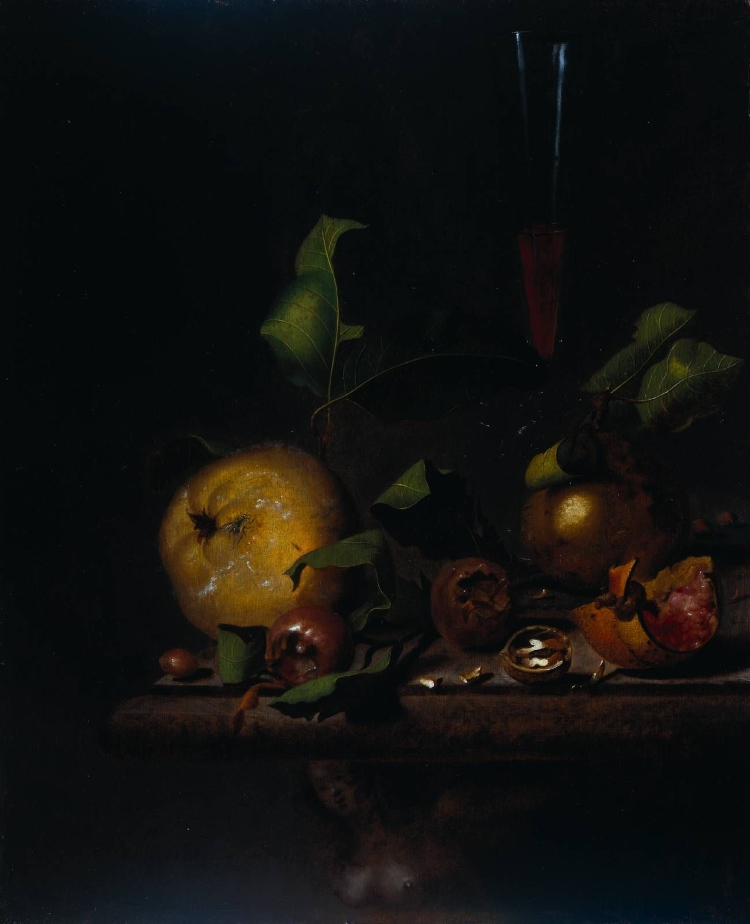 Dark still life painting of medlars and quince fruits on a table.