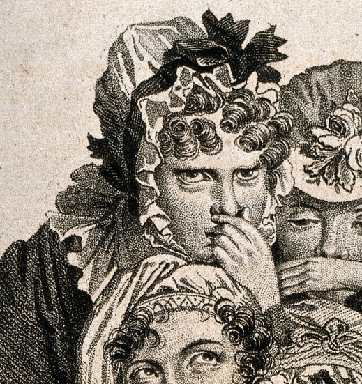 Detail from Louis Boilly's 'The Snuff Takers' showing a lady in a frilly bonnet glaring out at the viewer while she holds her nose.