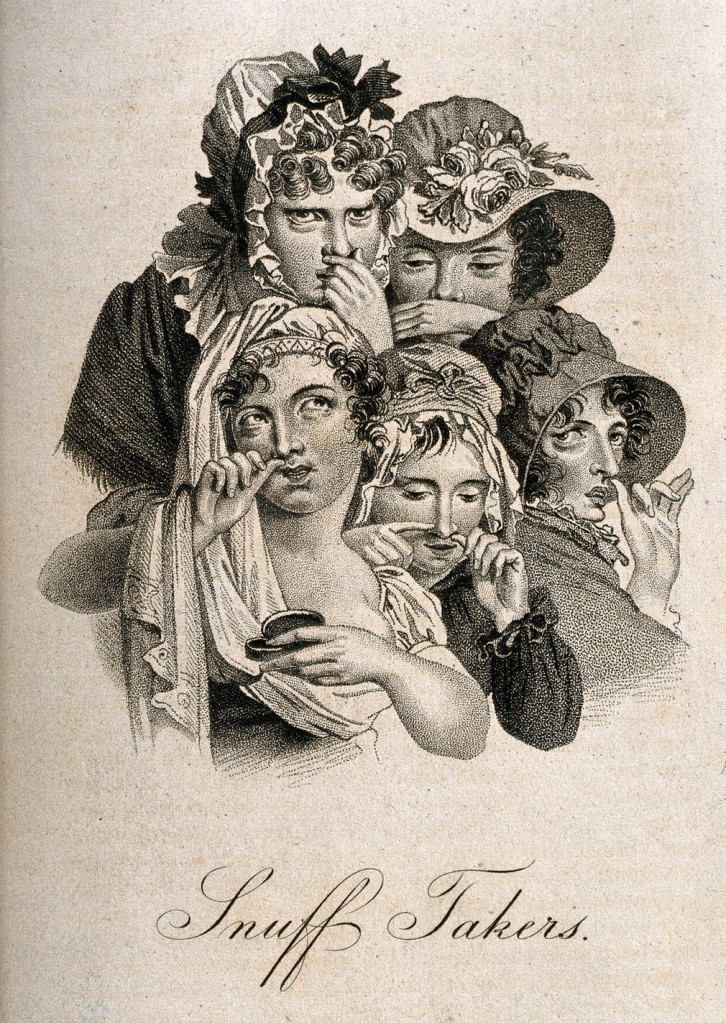 Etching of five fancy Victorian ladies with various amusing expressions, all with their fingers up their noses.